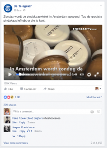 Dat er veel pindakaasfans zijn, blijkt wel uit de reacties op de video op de Facebookpagina van De Telegraaf!